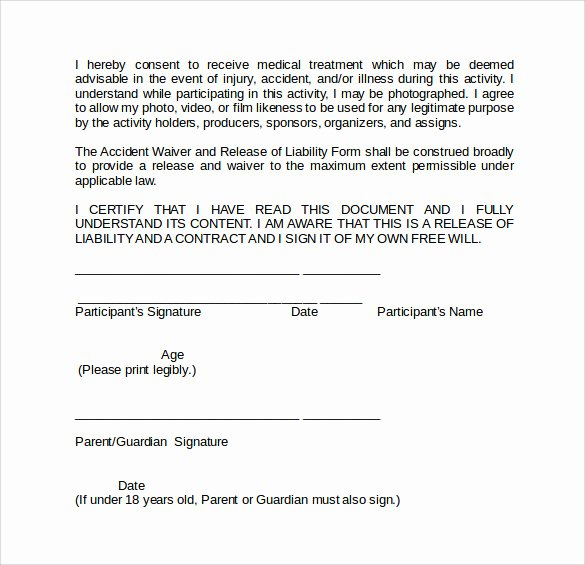 Release Of Liability form Template Unique Sample Liability Waiver form 9 Download Free Documents