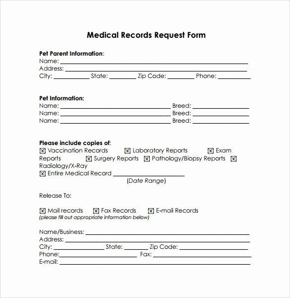 Release Of Medical Records Template Elegant Medical Records Release form 10 Free Samples Examples