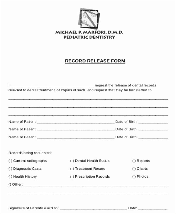 Release Of Medical Records Template Elegant Sample Dental Records Release form 8 Examples In Word Pdf