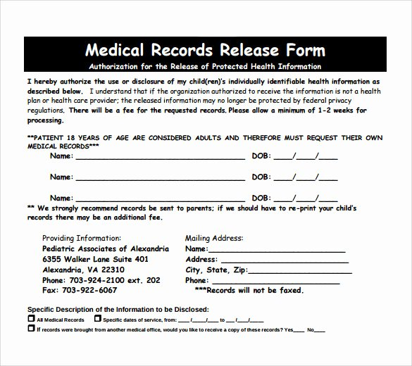 Release Of Medical Records Template Inspirational Medical Records Release form 10 Free Samples Examples