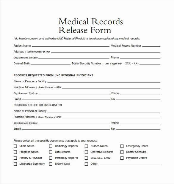 Release Of Medical Records Template Unique Medical Release form