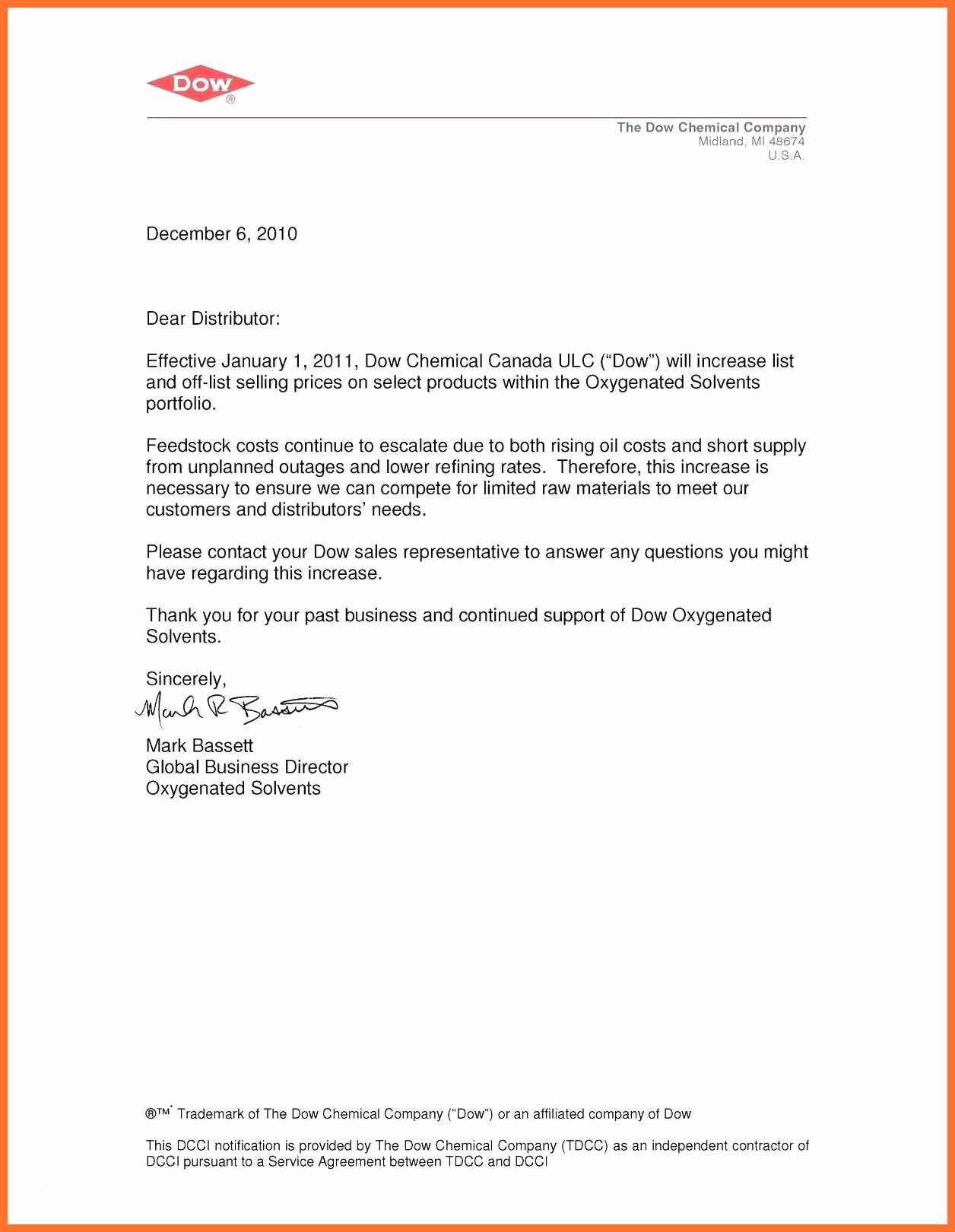 Rent Increase Letter Templates Awesome 9 10 Price Increase Letter to Customers