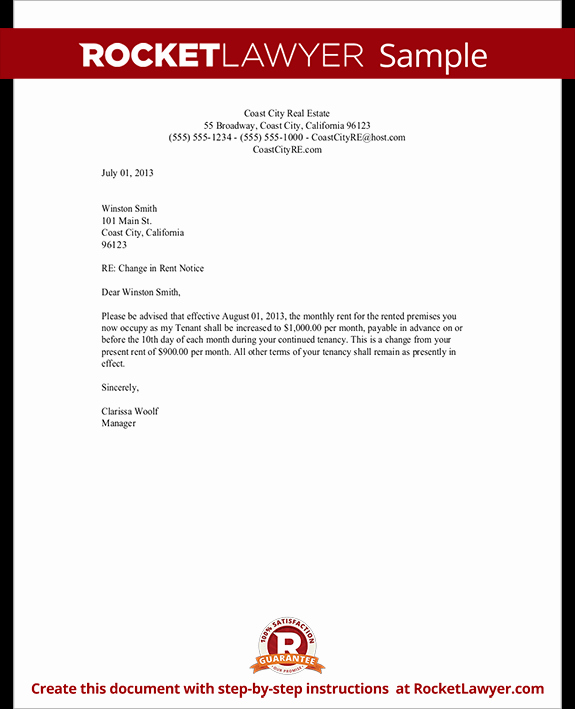 Rent Increase Letter Templates Beautiful Rent Increase Letter Template