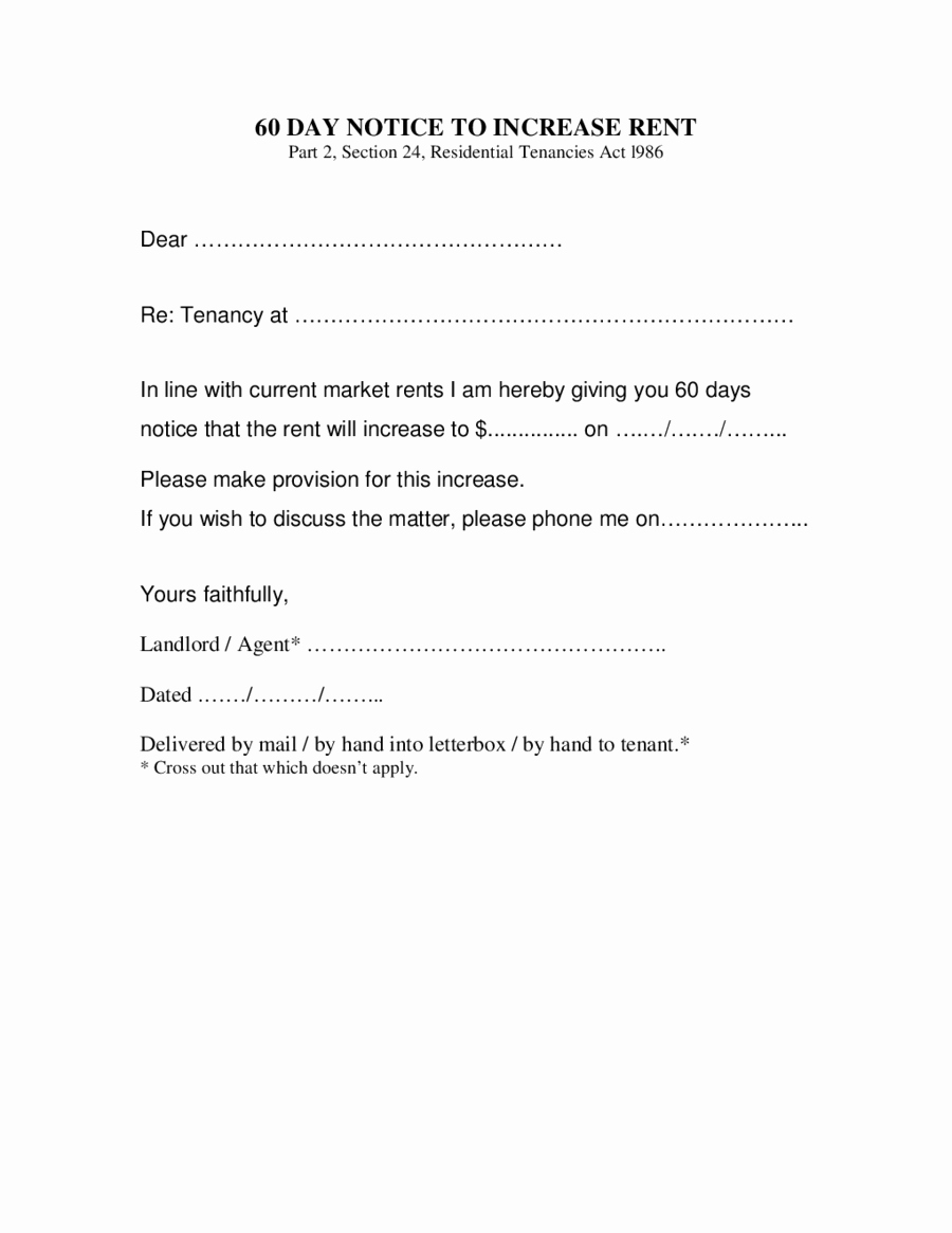 Rent Increase Letter Templates Best Of 2019 Rent Increase Letter Fillable Printable Pdf