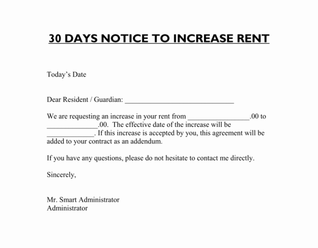 Rent Increase Letter Templates Fresh Rent Increase Letter 7 Samples In Word Pdf format