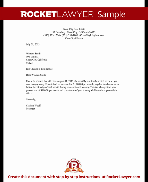 Rent Increase Letter Templates Luxury Rent Increase Letter with Sample Notice Of Rent Increase