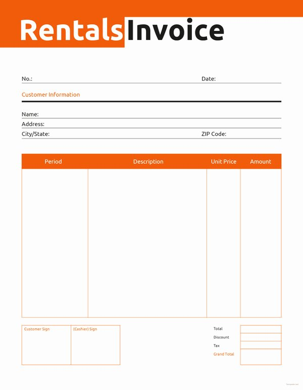 Rent Invoice Template Word Best Of Rental Invoice Template 6 Free Word Pdf Document