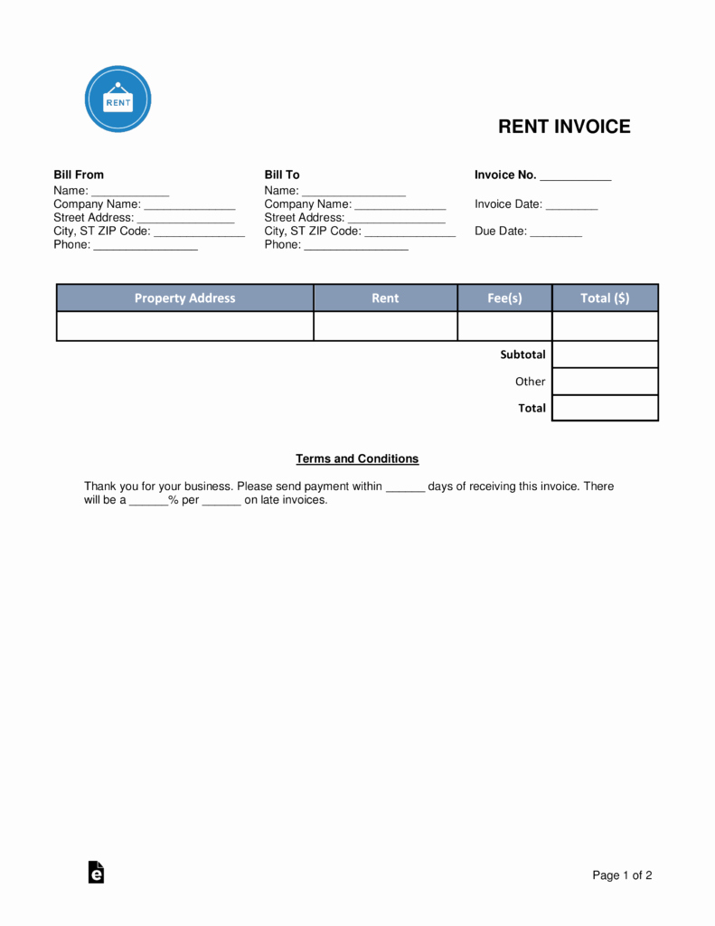 Rent Invoice Template Word Unique Free Rental Monthly Rent Invoice Template Word