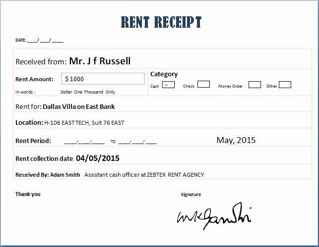 Rent Payment Receipt Template Beautiful Rent Receipt Templates for Ms Word & Excel