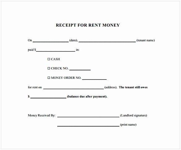 Rent Payment Receipt Template Elegant Printable Rent Receipt
