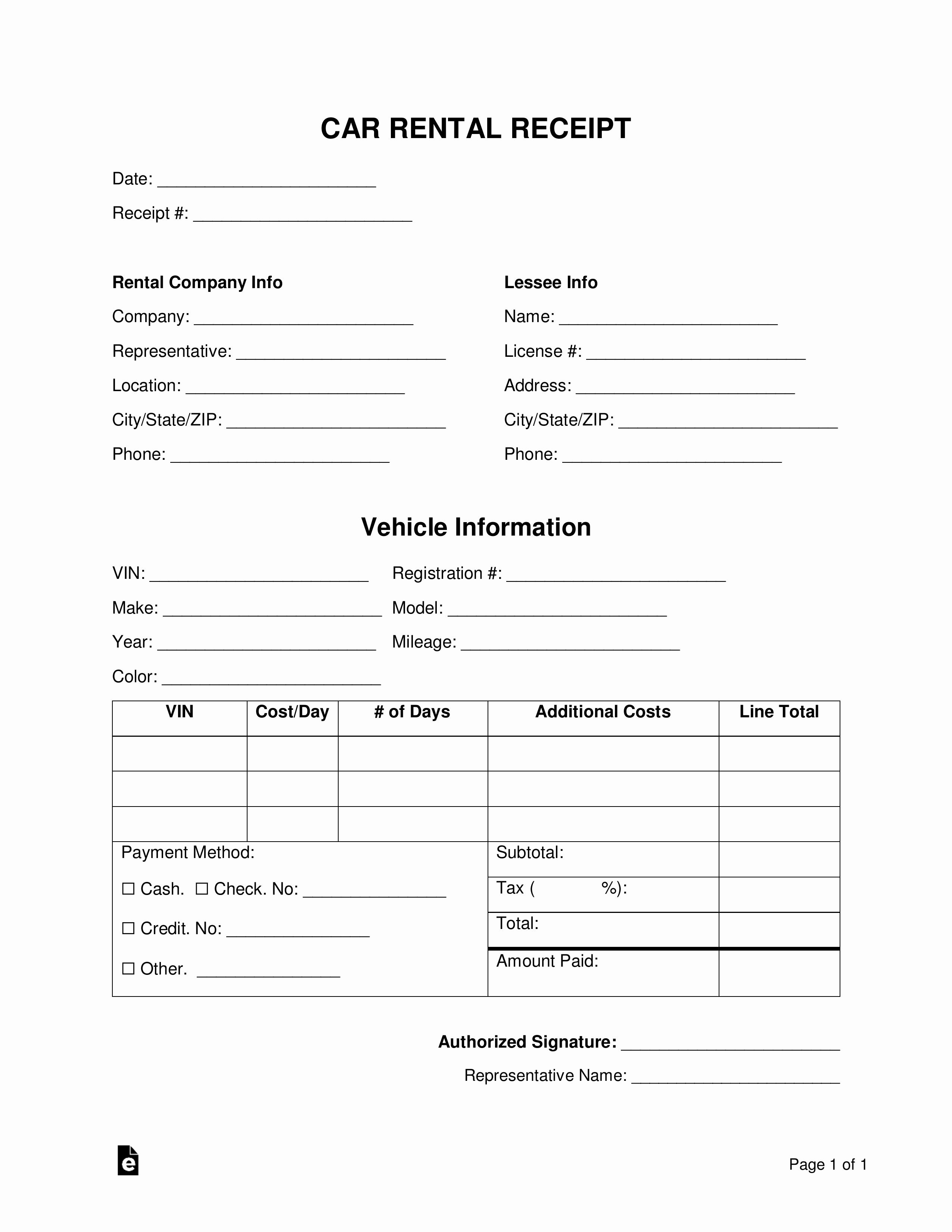 Rent Receipt Template Pdf Elegant Free Car Rental Receipt Template Word Pdf
