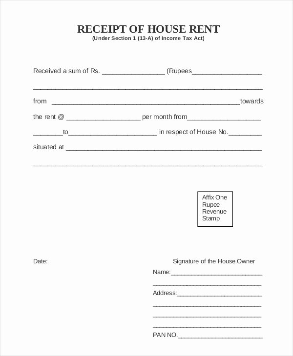 Rent Receipt Template Pdf Fresh Easy to Use House or Property Rent Receipt Samples to