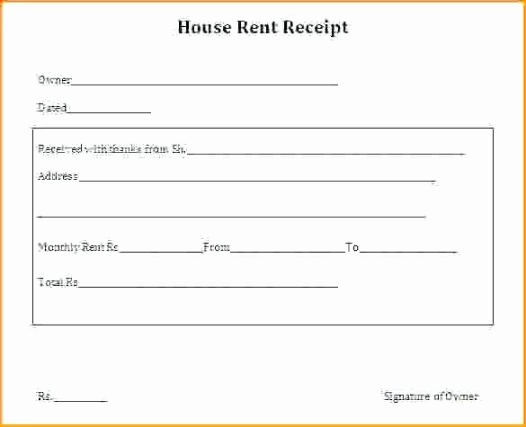 Rent Receipt Template Pdf New House Rent form