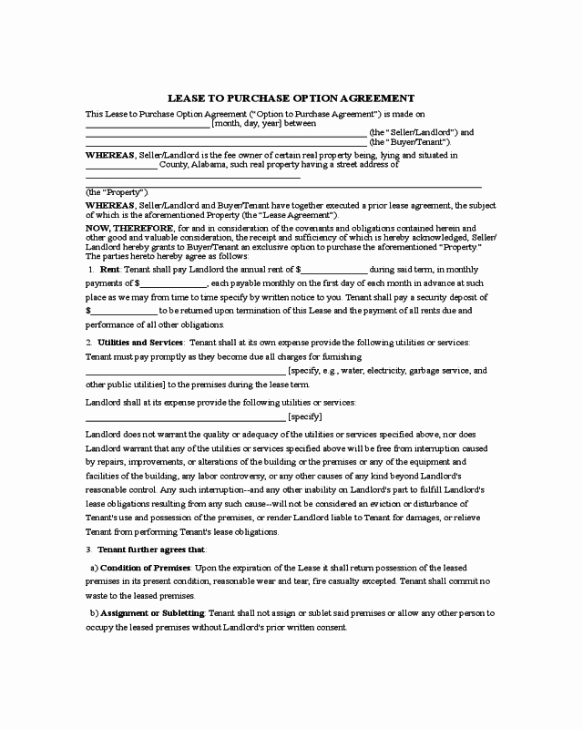 Rent to Own Template Fresh 2019 Rent to Own Agreement form Fillable Printable Pdf