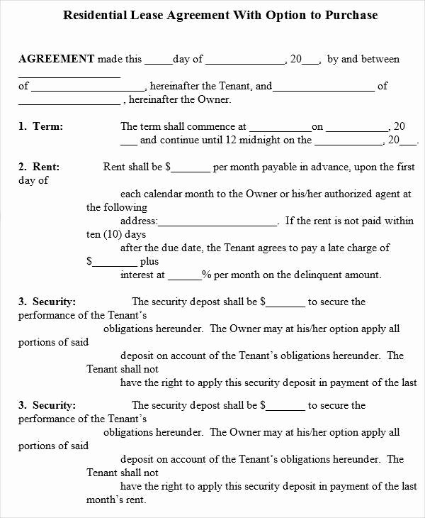 Rent to Own Template New 6 Rent to Own House Contract forms Examples In Word Pdf