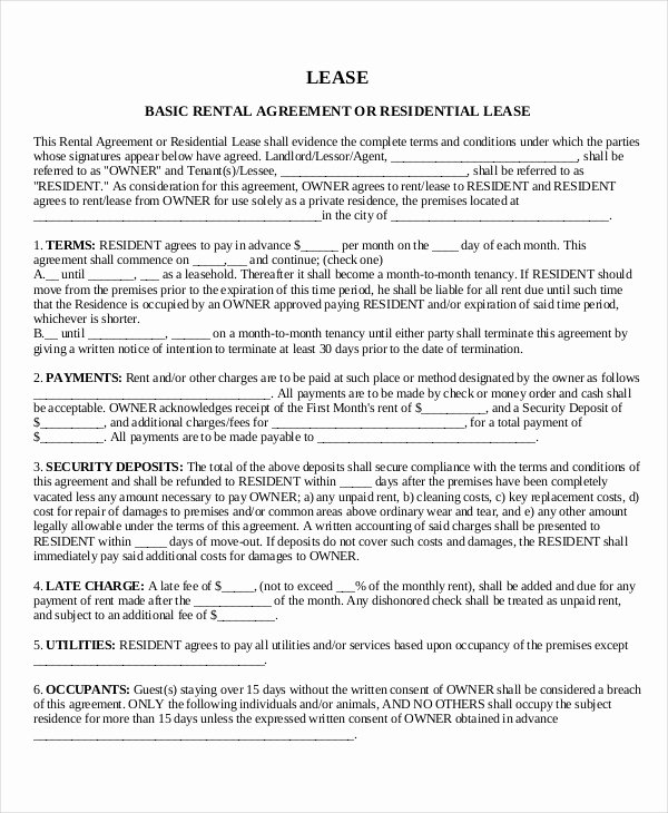 Rental Contract Template Word Beautiful House Lease Template 7 Free Word Pdf Documents