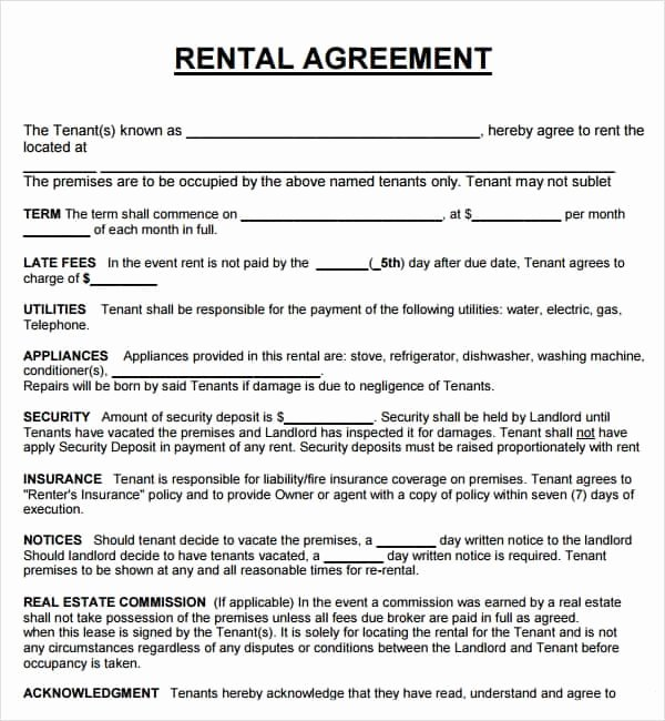 Rental Contract Template Word Best Of 20 Rental Agreement Templates Word Excel Pdf formats