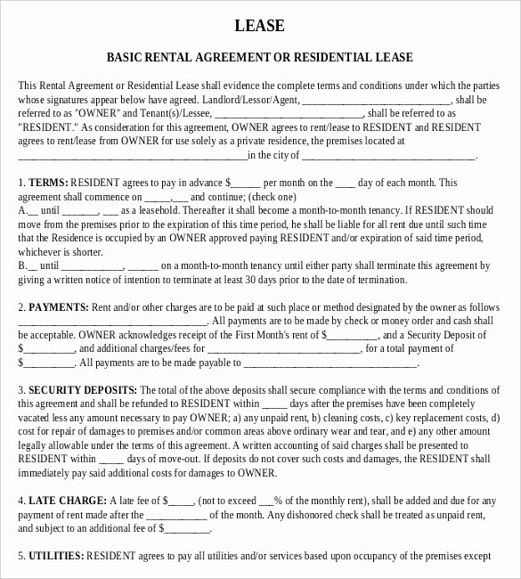 Rental Contract Template Word Elegant Free Lease Agreement Template Word