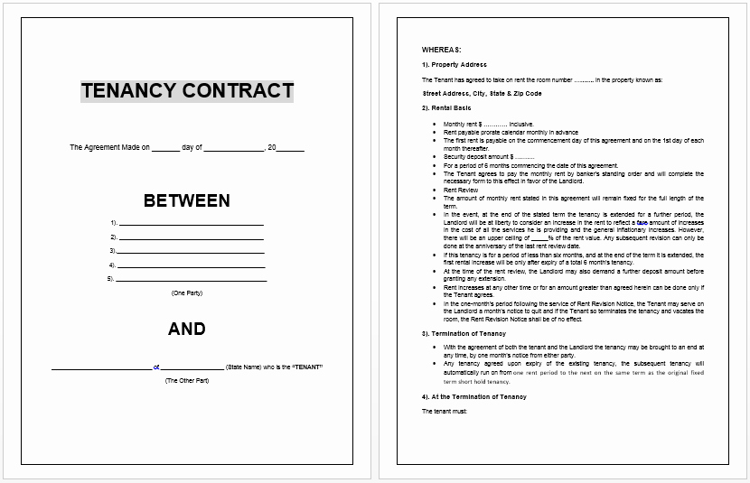 Rental Contract Template Word Elegant Tenancy Contract Template Microsoft Word Templates