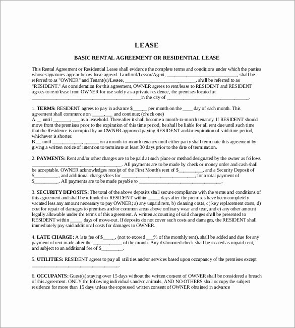 Rental Contract Template Word Lovely 17 Lease Template Doc Pdf