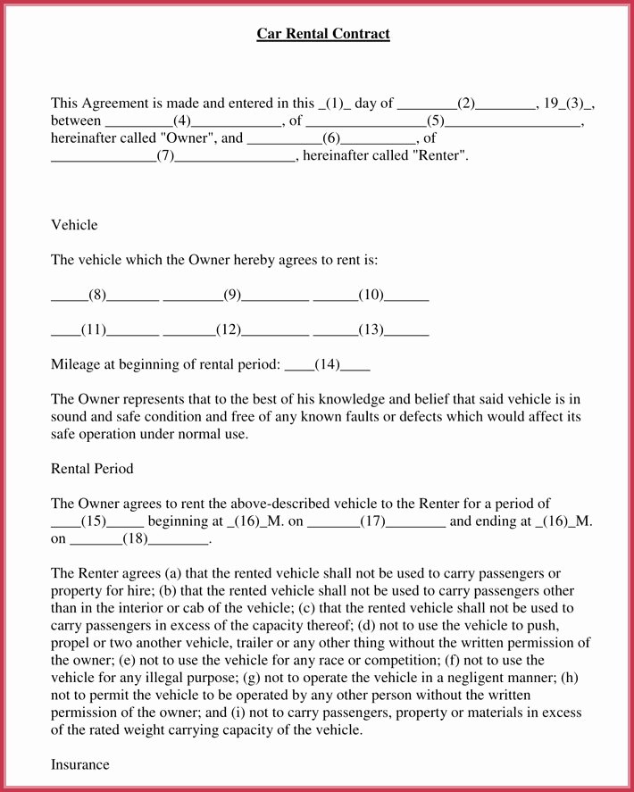 Rental Contract Template Word Lovely Car Rental Agreement 7 Samples forms Download In