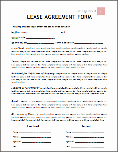 Rental Contract Template Word Lovely Ms Word Lease Agreement form Template