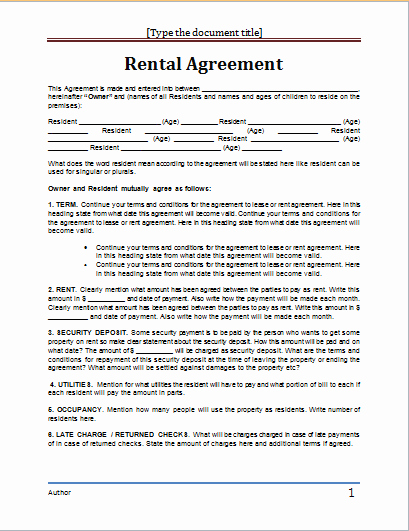 Rental Contract Template Word Lovely Ms Word Rental Agreement Template