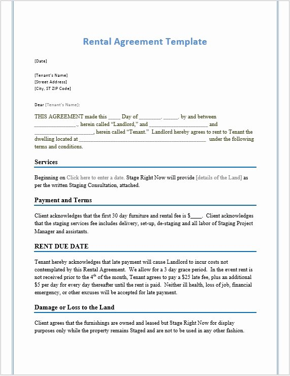Rental Contract Template Word Luxury Rental Agreement Template – Word Templates for Free Download