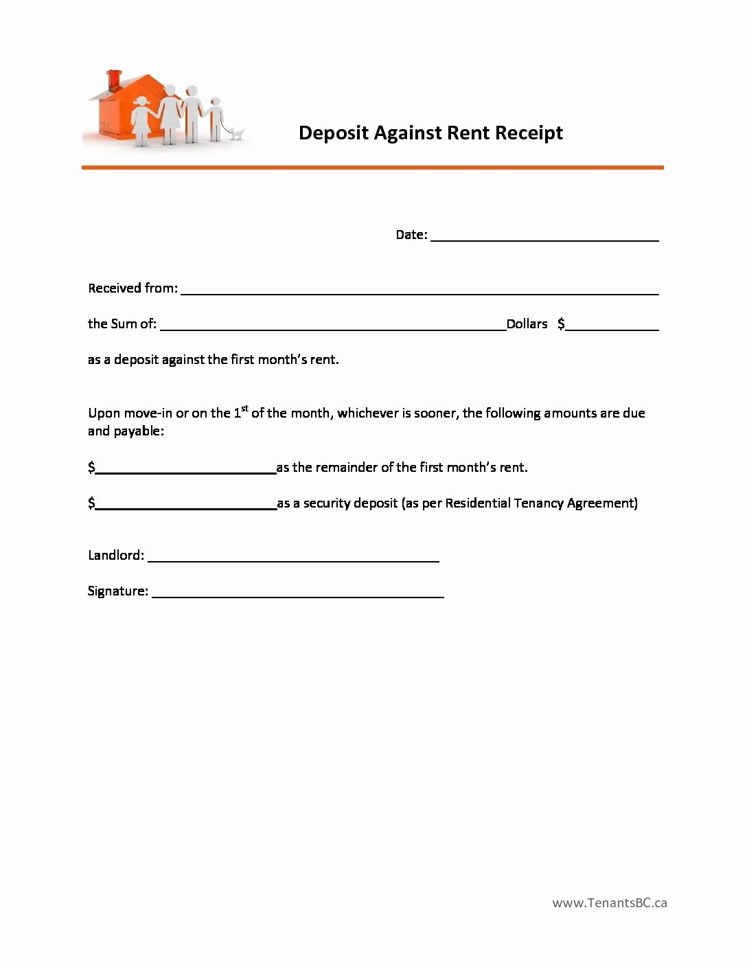 Rental Deposit Receipt Template Awesome Free Rent Receipt Template and What Information to Include