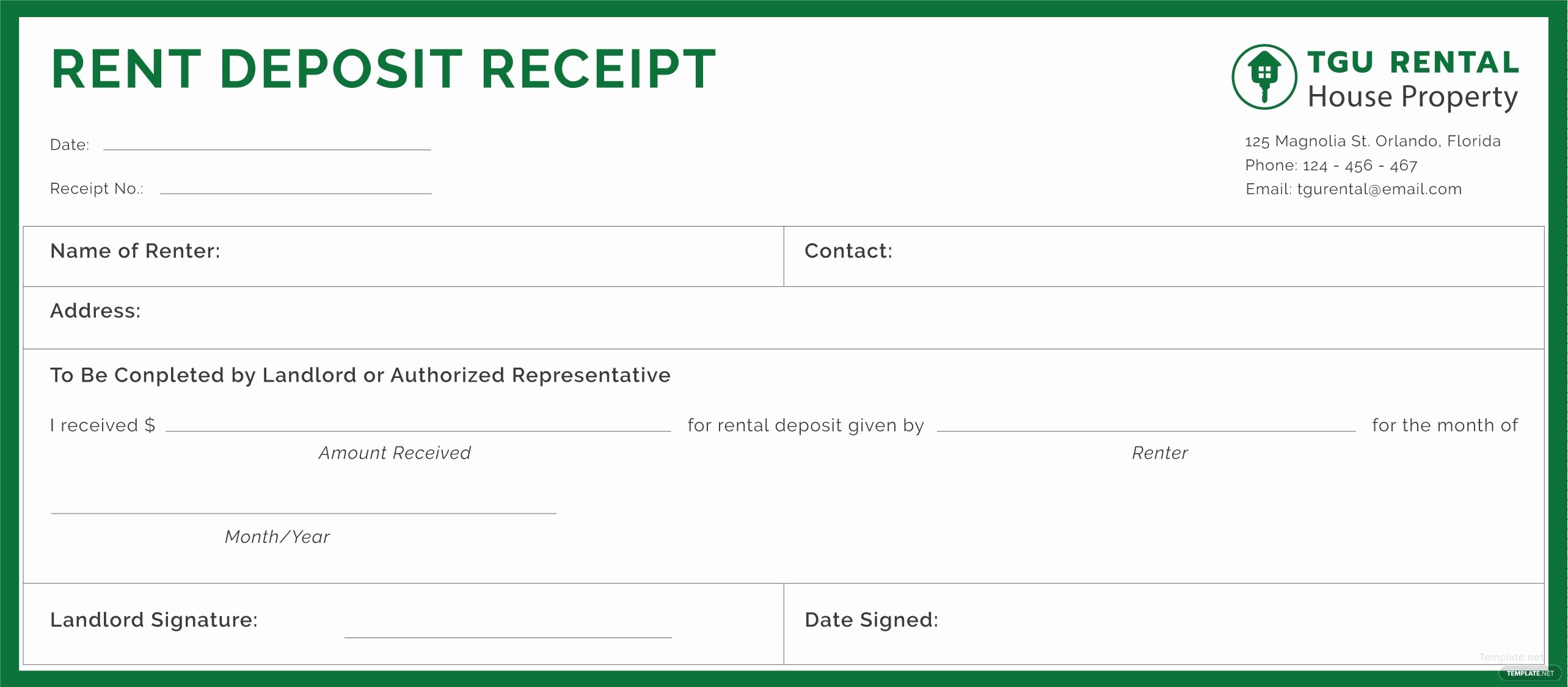 Rental Deposit Receipt Template Best Of Free Rent Deposit Receipt Template In Adobe Illustrator