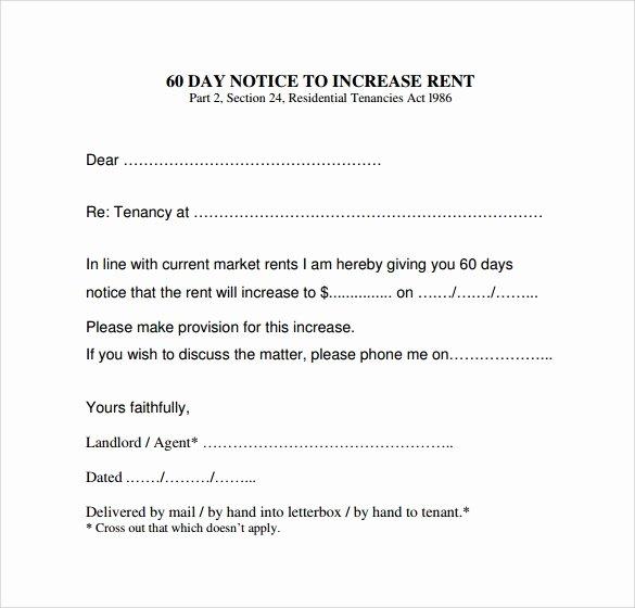 Rental Increase Letter Template Fresh 9 Sample Rent Increase Letter Templates Pdf Word