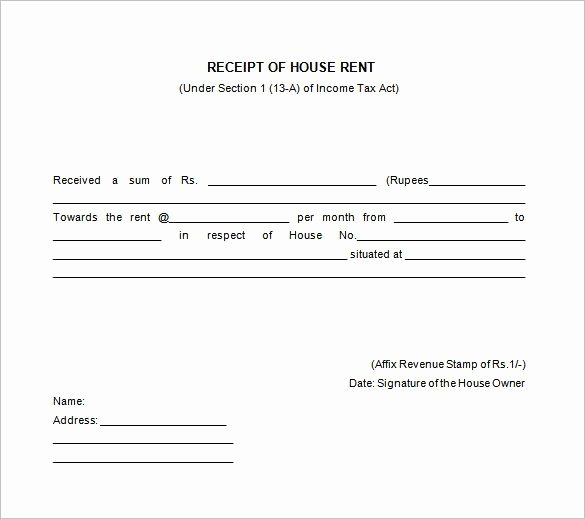 Rental Receipt Template Pdf Lovely House Rent Receipt Templates Receipt Of House Rent