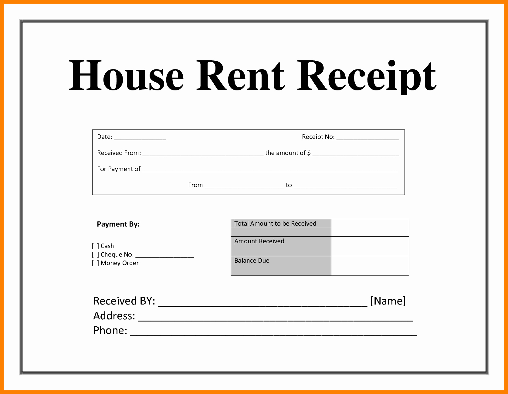 Rental Receipt Template Pdf Unique 15 Simple House Rent Receipt and Slip Samples to Inspire