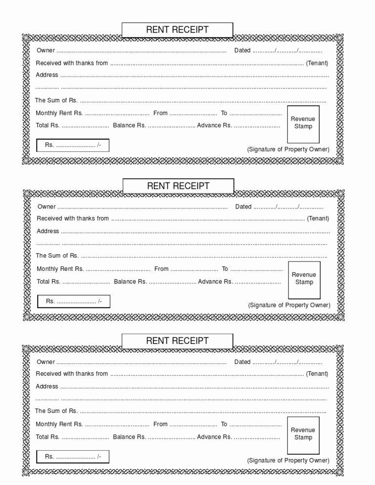 Rental Receipt Template Pdf Unique Rent Receipt