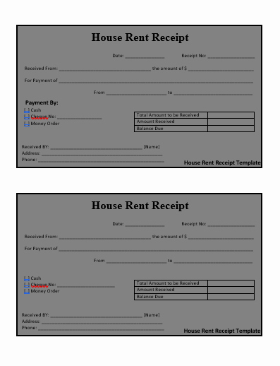 Rental Receipt Template Word Beautiful House Rent Receipt format