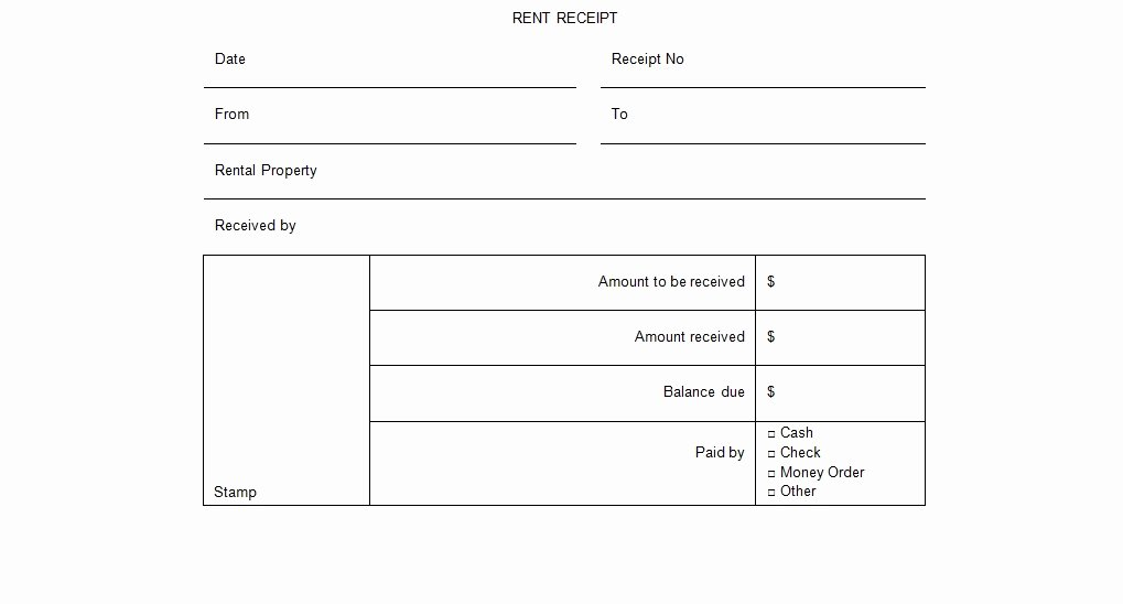 Rental Receipt Template Word Beautiful Rental Receipt form Template Excel Tmp