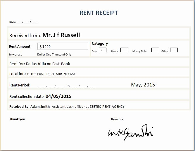 Rental Receipt Template Word Elegant formal Rent Receipt Template