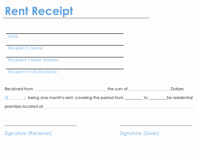 Rental Receipt Template Word Unique 6 Rent Receipt Templates to Create Rent Receipt Of Any Type
