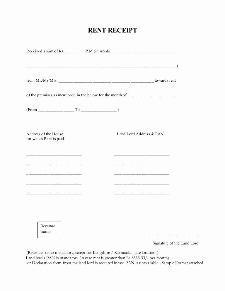 Rental Receipts Template Word Inspirational Rent Receipt format