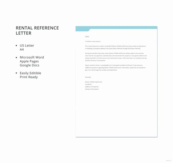 Rental Reference Letter Template Beautiful 10 Rental Reference Letter Templates Free Sample