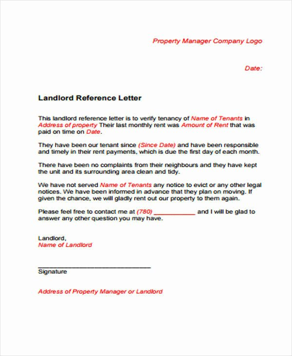 Rental Reference Letter Template Beautiful Sample Rental Reference Letter 8 Examples In Pdf Word