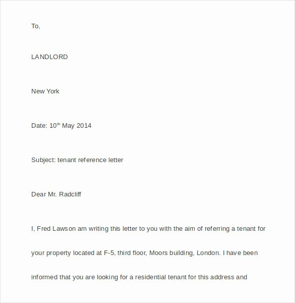 Rental Reference Letter Template Elegant Tenant Reference Letter 8 Documents In Pdf Word