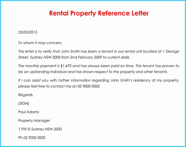 Rental Reference Letter Template Fresh Rental Reference Letter 9 Samples formats for