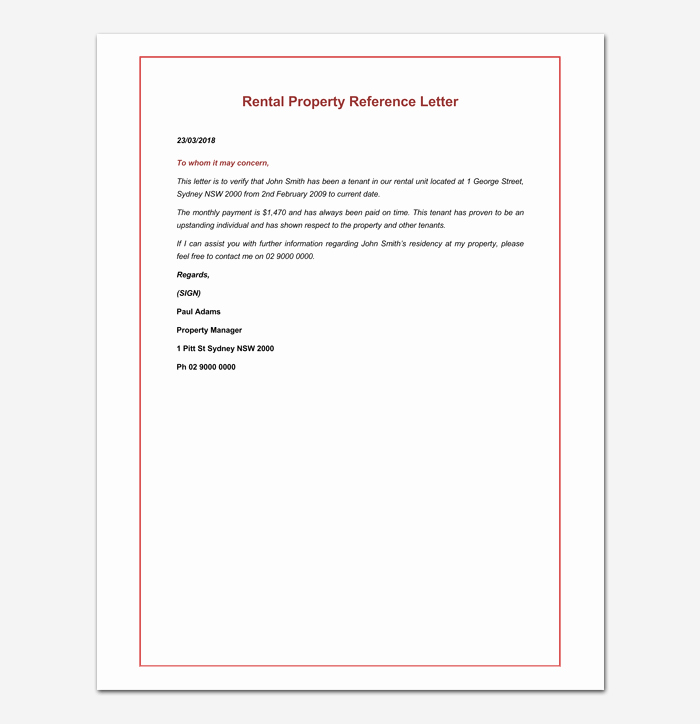 Rental Reference Letter Template Fresh Rental Reference Letter Template 12 Samples & Examples