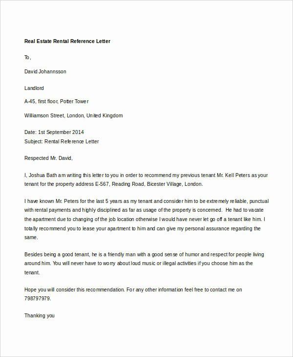 Rental Reference Letter Template Inspirational 11 Rental Reference Letter Templates Word Pdf Apple
