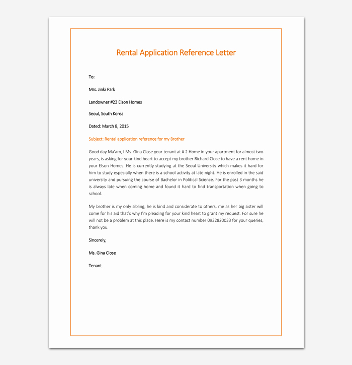Rental Reference Letter Template Inspirational Rental Reference Letter Template 12 Samples & Examples