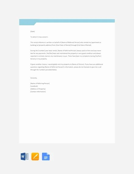Rental Reference Letter Template New 12 Rental Reference Letter Templates Free Sample