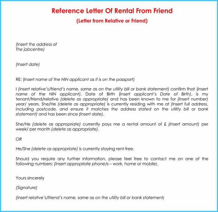 Rental Reference Letter Template Unique Rental Reference Letter 9 Samples formats for