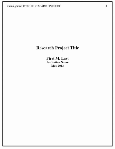 Report Cover Page Template Elegant Apa Title Page