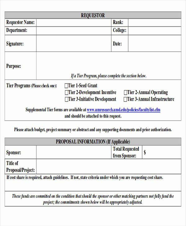 Request for Funds Template Beautiful Sample Funding Request form 10 Examples In Word Pdf